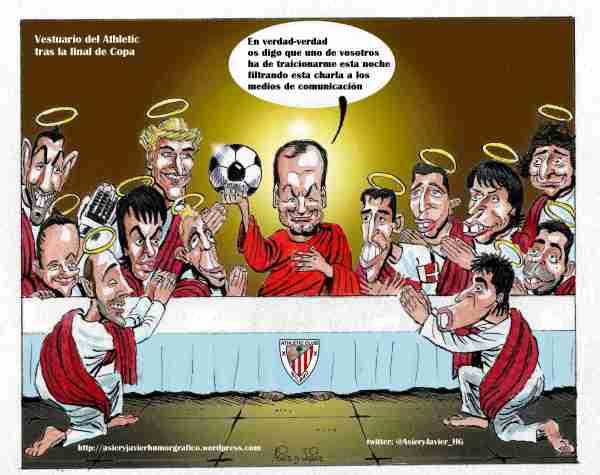 A nosotros nos han filtrado una imagen: así empezó Bielsa su charla a los jugadores tras la final de Copa