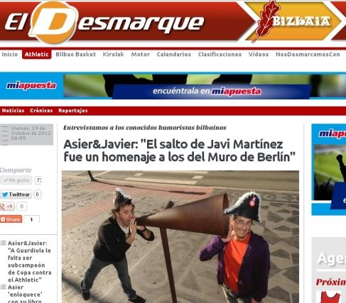 Pantallazo de la entrevista en http://www.eldesmarquebizkaia.com