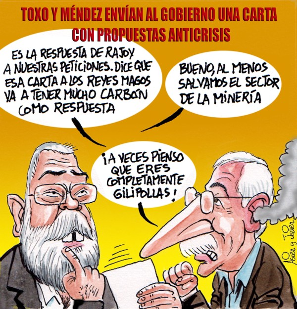 En El Jueves, Toxo y Méndez le mandan una carta a Rajoy