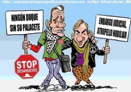 Urdangarin y Cristina de Borbón tienen problemas para pagar hipoteca palacete. Caricaturas Humor Gráfico