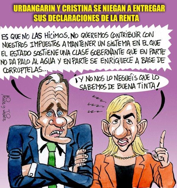 Urdangarin y Cristina se niegan a entregar sus declaraciones del IRPF al juez