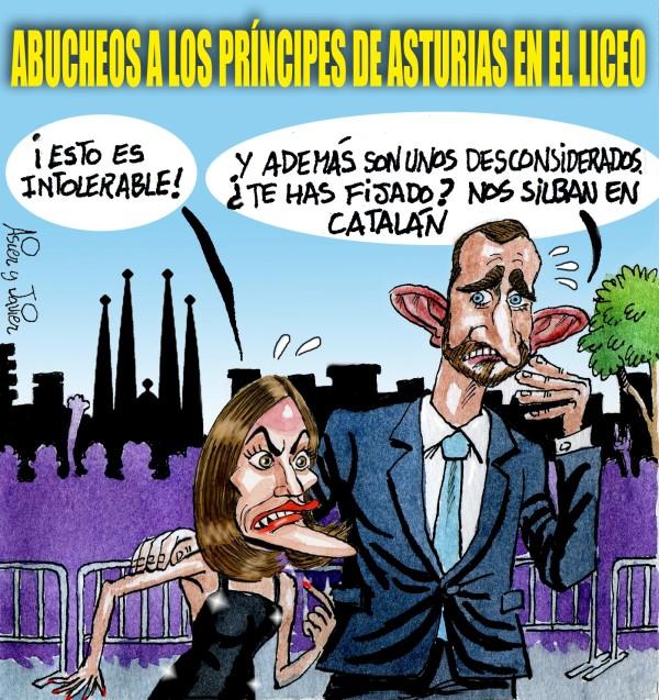 En El Jueves, abucheos a los Príncipes en Barcelona