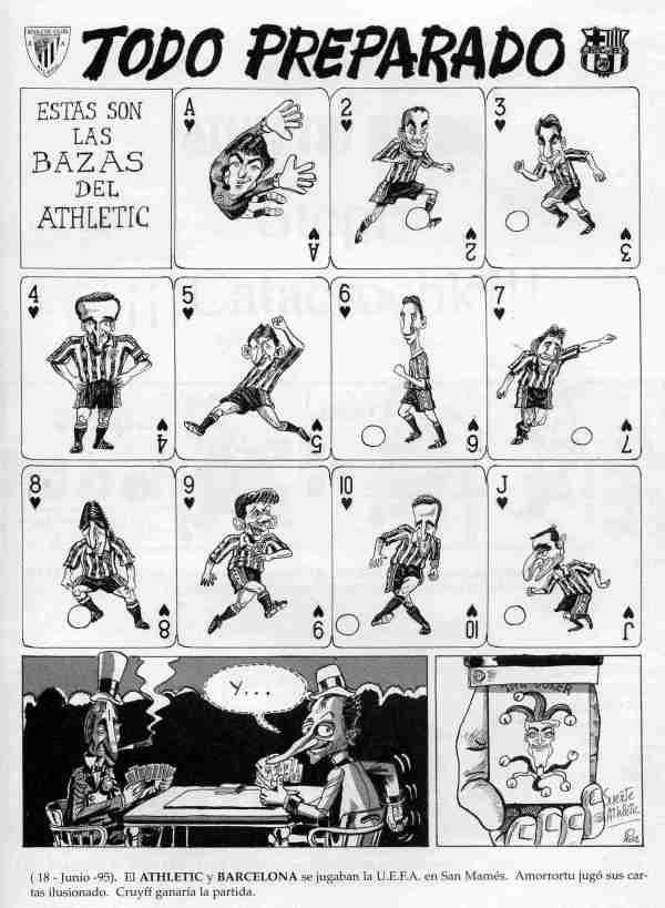 Valverde, Urrutia, Ziganda, Amorrortu...en una página de caricaturas sobre el Athletic publicada en 1995