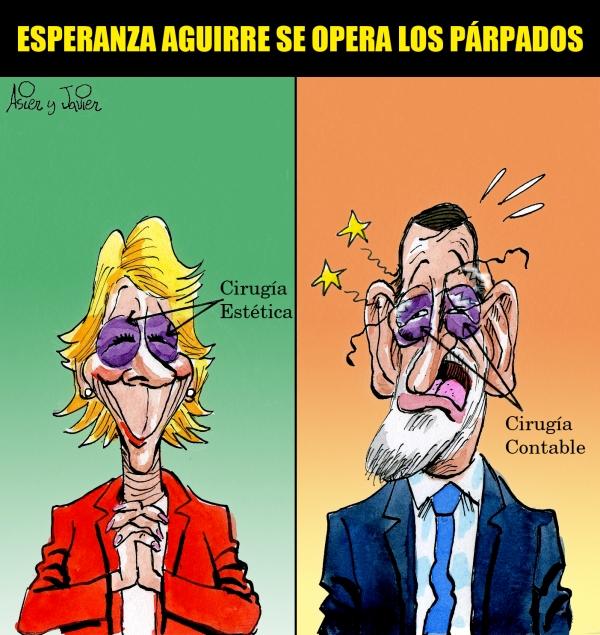 Esperanza Aguirre se ha operado los pápardos