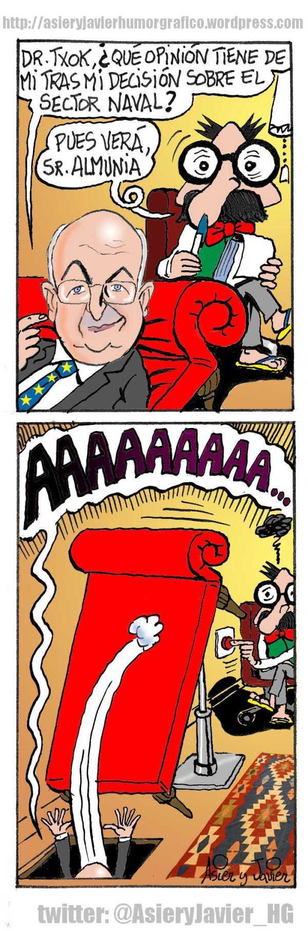Almunia, los astilleros y el doctor Txok. Caricatura, Asier y Javier
