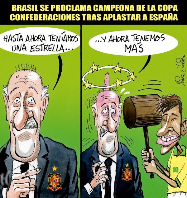 En El Jueves, Brasil derrota a España en la final de la Copa Confederaciones