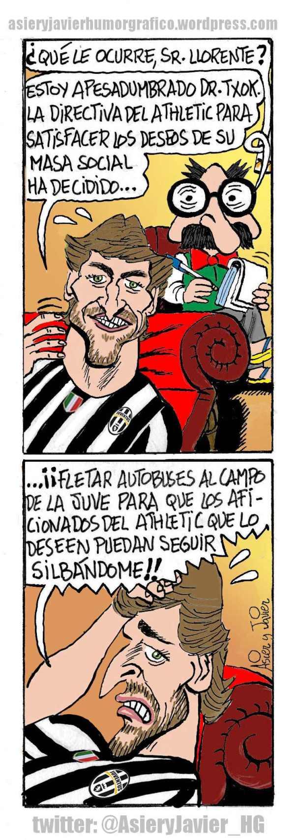 Fernando Llorente, delantero de la Juventus de Turín, consulta al doctor Txok sobre el Athletic de Bilbao. Humor, Asier y Javier.