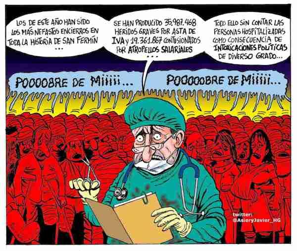"""Un """"Pobre de Mi"""" colectivo en San Fermín, Iruña, Pamplona, Humor, Asier y Javier"""