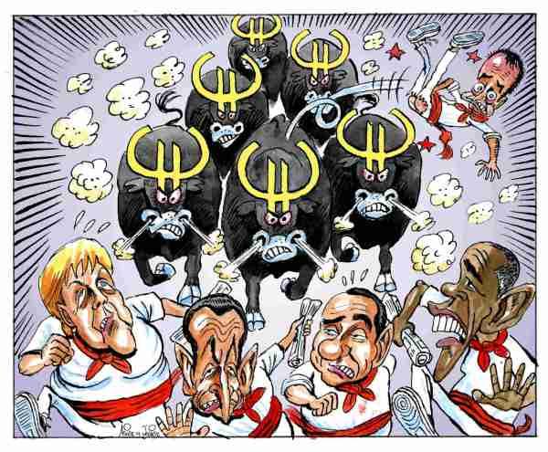 Merkel, Obama, Belusconi, Sarkozy y Zapatero en los encierros de San Fermín de la manada del euro, humor gráfico