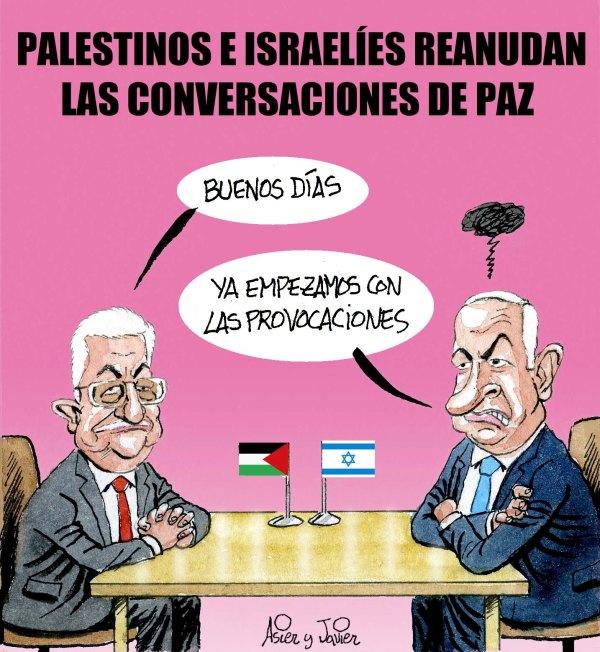 Conversaciones de paz entre Israelíes y Palestinos...Humor gráfico, Asier y Javier