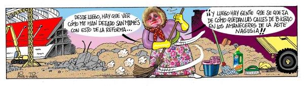 Maria Jaia pone Bilbao de punta en blanco para la Aste Nagusia. Humor Gráfico, Asier y Javier.