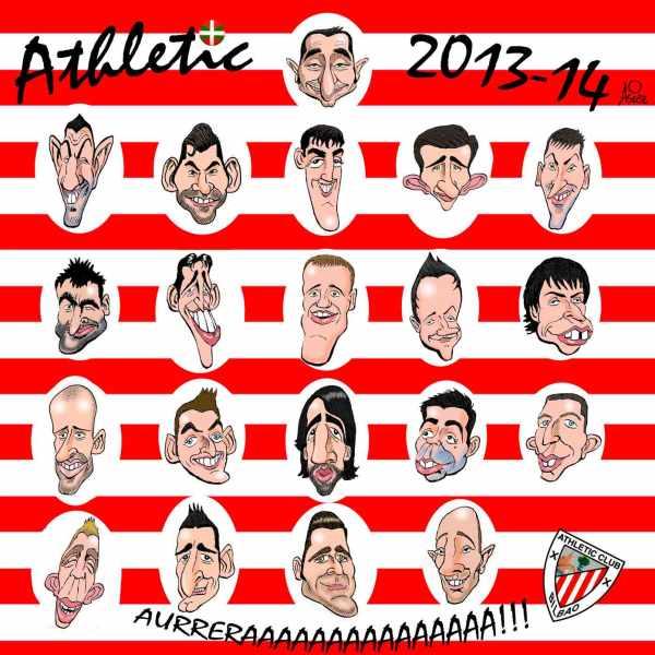 El Athletic 2013-14 con las nuevas caricaturas de Beñat, Balenziaga, Rico y Herrerín. Aúpaaaa!