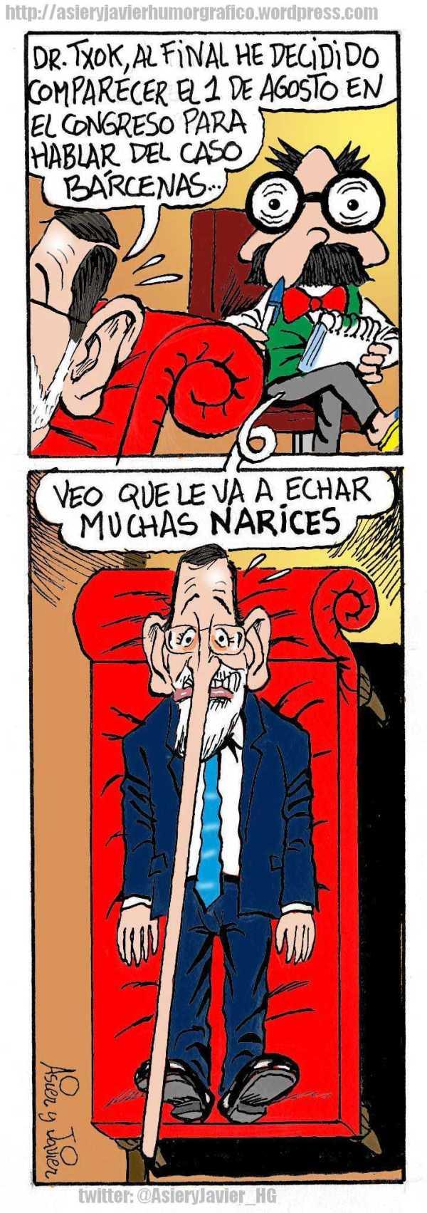 Rajoy afirma ante el doctor Txok que va a echarle narices al caso Bárcenas. Humor gráfico, caricaturas.