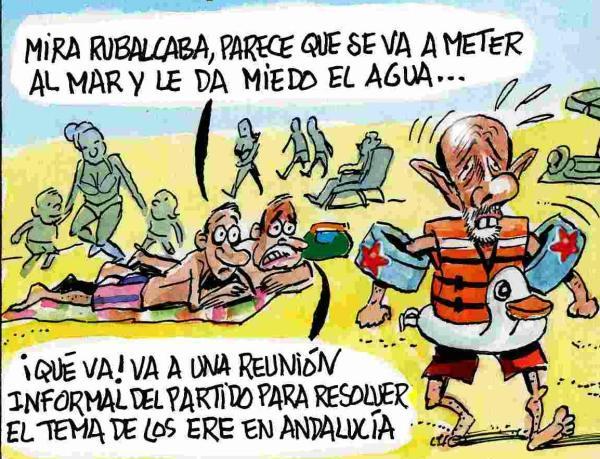 Rubalcaba también se va de vacaciones en Agosto. Caricatura, Humor Gráfico, Asier y Javier.