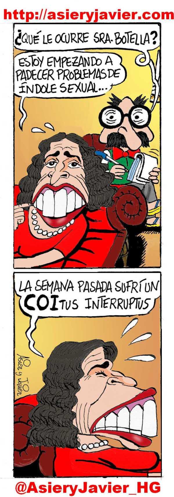 Ana Botella consulta sus problemas olímpicos al doctor Txok. Humor gráfico.