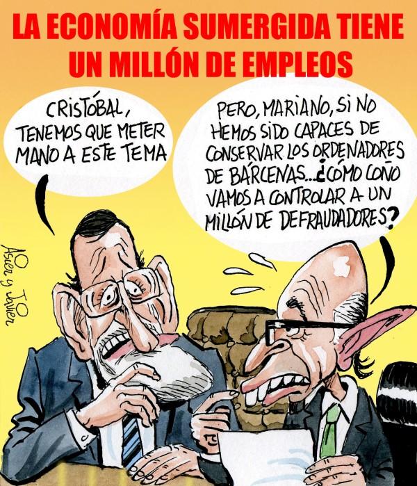 En El Jueves: un millón de empleos en la economía sumergida española. Rajoy, Montoro, Bárcenas. Humor Gráfico.