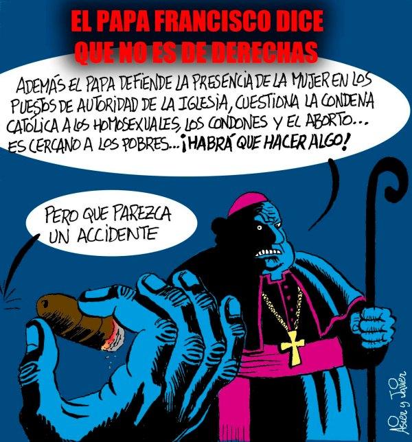 El Papa dice que no es de derechas. Vaticano, Curia, El Jueves, Humor gráfico.