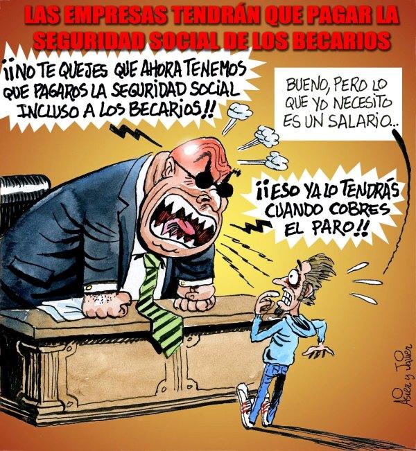 Los becarios tendrán Seguridad Social, humor gráfico, El Jueves