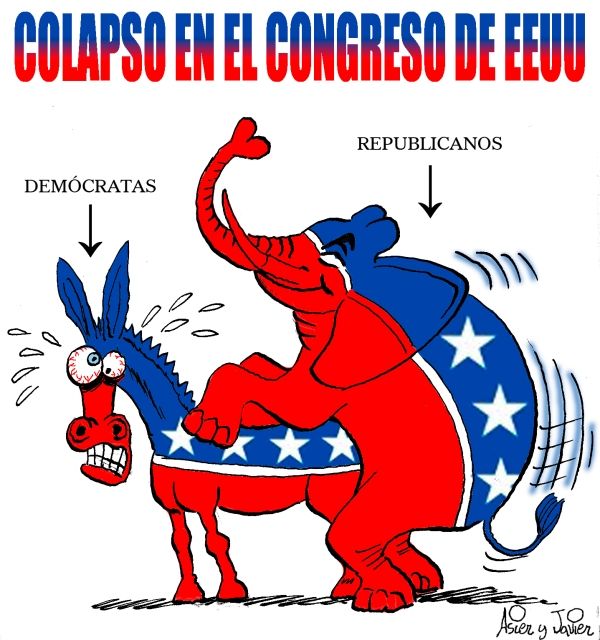 La mayoría republicana paraliza el presupuesto de Obama. USA,  El Jueves, Humor Gráfico