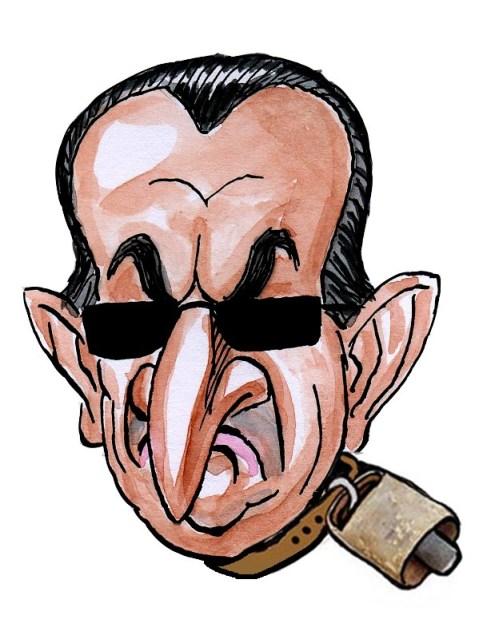 Carlos Fabra, expresidente de la diputación de Castellón, cencerro de la semana. Caricatura.