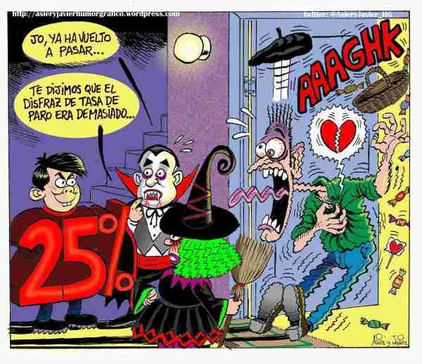 El disfraz que arrasa en la noche de Halloween: el de tasa de paro, que acojona de verdad.