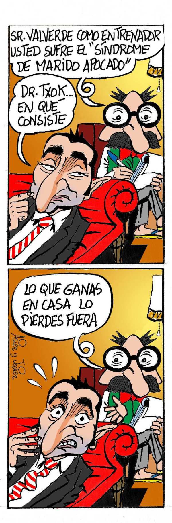 Ernesto Valverde consulta al doctor Txok sobre el juego del Athletic fuera de casa