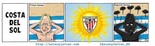 """El Athletic """"quemó"""" a Schuster en Málaga. Fútbol, humor, caricatura."""