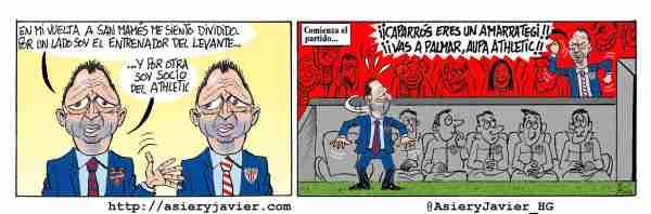 Caparrós, entrenador del Levante que juega hoy en San Mamés, y socio del Athletic. Fútbol, Liga BBVA, Humor gráfico.