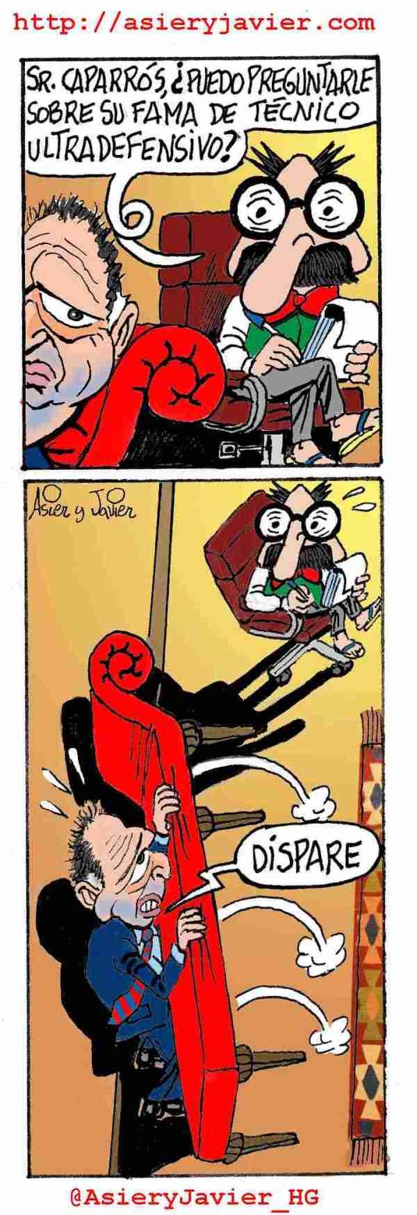 Joaquín Caparrós arovechó la visita del Levante a San Mamés para ir a ver al doctor Txok. Caricatura, Humor Gráfico