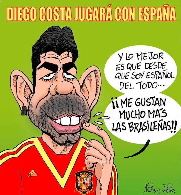 Diego Costa jugará con la selección española. Caricatura, humor, El Jueves.