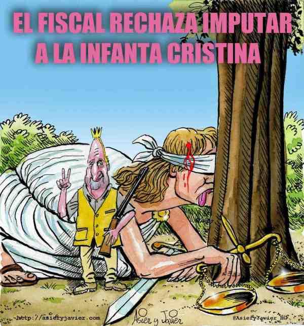 La fiscalía rechaza imputar a la Infanta Cristina por su relación con los negocios de Urdangarin. Caricatura, Juan Carlos de Borbón.