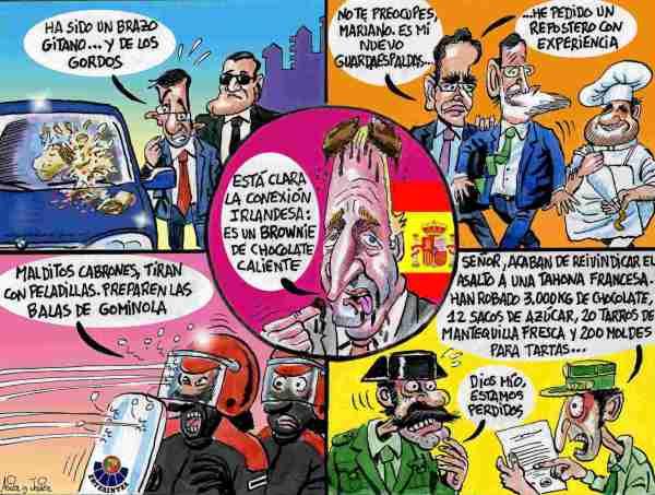 """Temor a los ataques a políticos tras el asalto de los """"tartalaris"""" a Yolanda Barcina. Humor gráfico."""