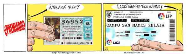 Al Athletic siempre le toca ganar en San Mamés. Lotería, Fúitbol, Rayo Vallecano, Bilbao, Humor Gráfico.