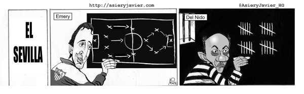El Athletic de Bilbao juega hoy en Sevilla ante los de Emery y Del Nido. Humor gráfico. Liga de fútbol.