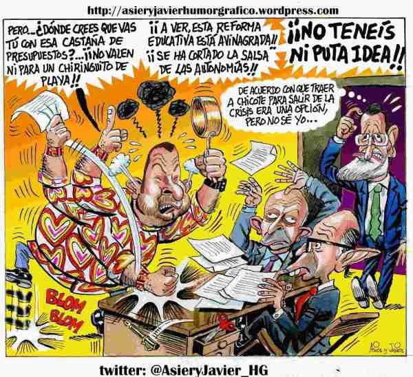 Chicote, a la Moncloa con Rajoy tras el éxito de Top Chef. Humor, caricaturas.