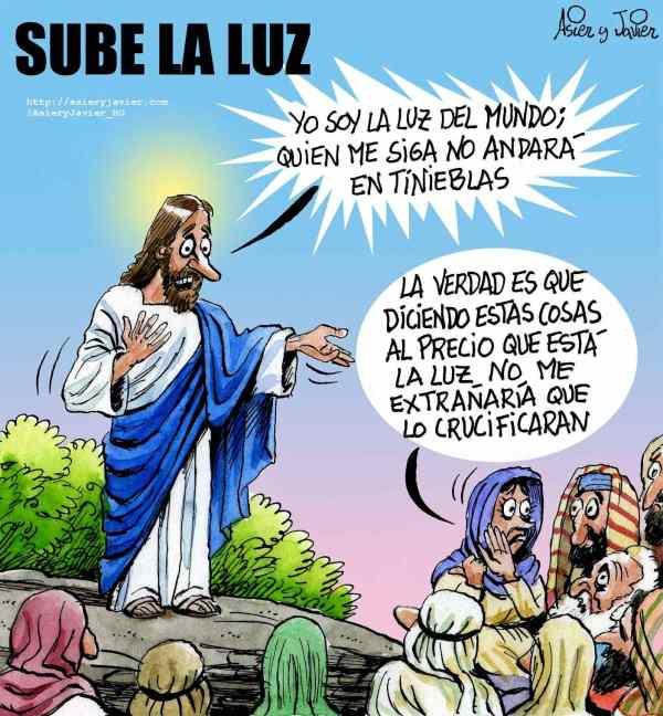 En enero subirá la factura de la luz. Jesucristo, El Jueves, humor gráfico.