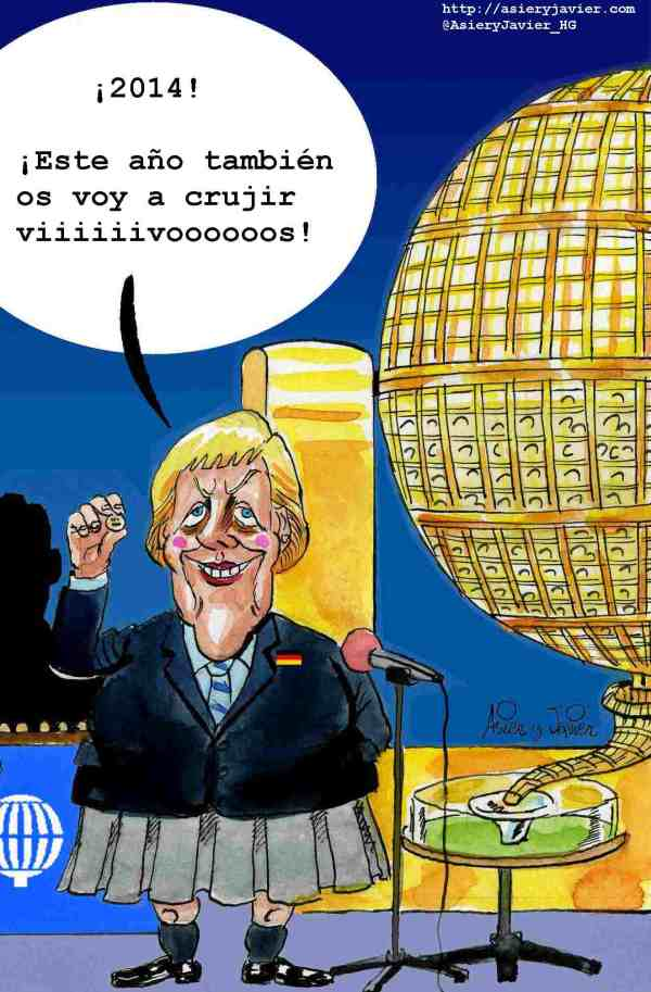 A Merkel le ha vuelto a tocar el Gordo. Caricatura, humor gráfico, lotería.