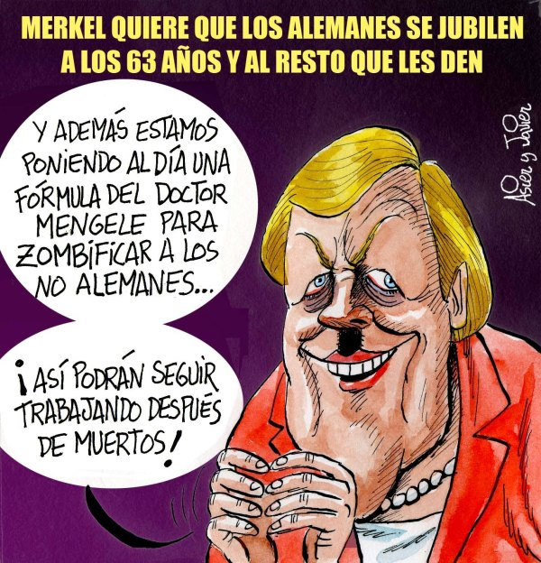 Merkel quiere bajar la edad de jubilación SOLO de los alemanes. Viñeta, caricatura.