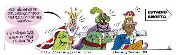 Los Reyes Magos van con sus presentes al Derbi entre Athletic y Real de Anoeta. Humor gráfico.