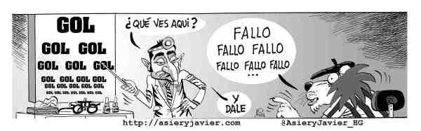 El Athletic, obligado a mejorar su eficacia cara al gol frente al Almería. Humor gráfico, caricatura.