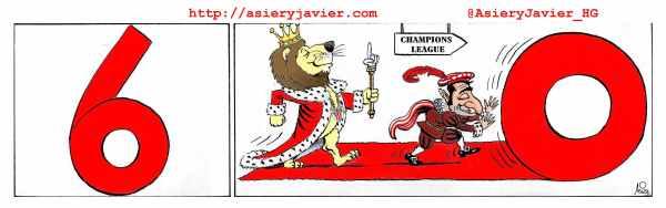 Con los 6 goles al Almería en SanMamés,  el Athletic recupera el acierto y se asienta en la zona Champions. Humor gráfico.