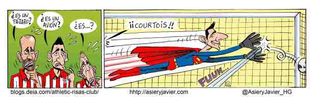 Un gran Courtois, determinante en la victoria del Atlético de Madrid ante el Athletic de Bilbao en San Mamés. Humor gráfico, viñeta, caricaturas.