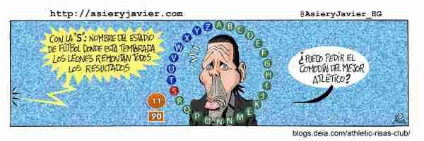 San Mamés, listo para remontar también ante el Atlético de Simeone. Humor gráfico, caricatura.