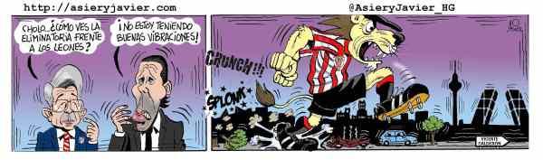 Un Athletic que asusta llega al Calderón a disputar el cruce de Copa a los de Simeone. Caricaturas, humor gráfico.