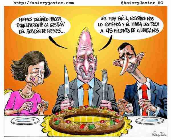 Roscón de Reyes en el Palacio de la Zarzuela.Humor gráfico, caricaturas.
