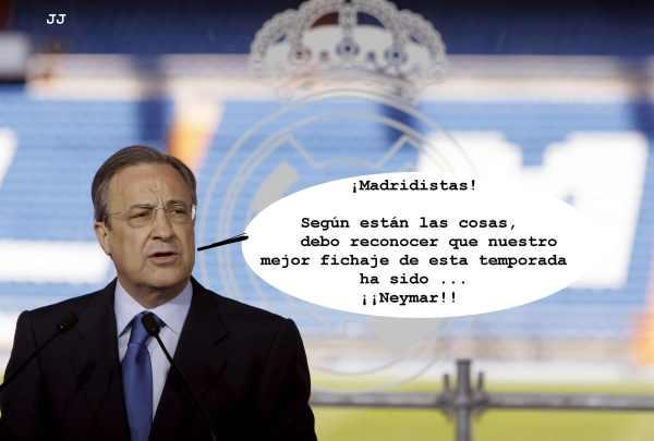 Neymar, el mejor fichaje de esta temporada... para el Madrid.  Humor gráfico.,
