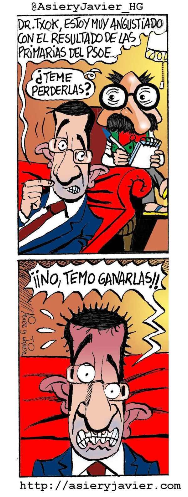 Patxi López acude al doctor Txok preocupado por las primarias del PSOE. Humor gráfico, viñeta, humor.