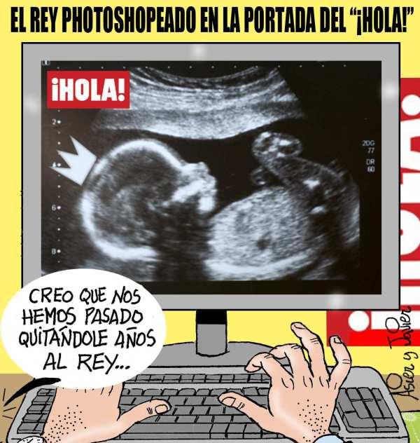 En El Jueves, el Rey sale muy rejuvenecido en la portada de Hola.  Humor gráfico.
