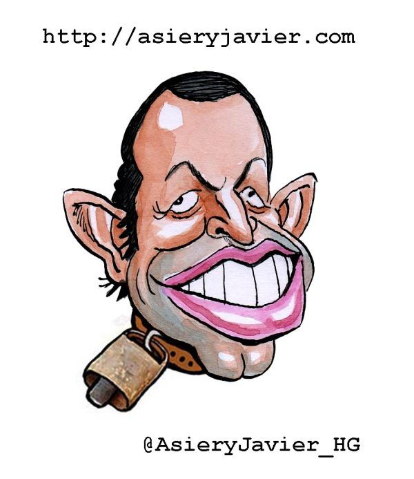 Sandro Rosell, nuestro Cencerro de la Semana. Humor gráfico, caricatura.