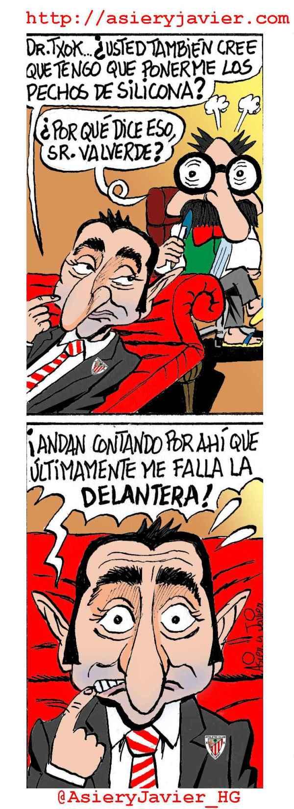 Valverde consultó al doctor Txok por uno de los problemas que más le acuciaba. Humor gráfico.